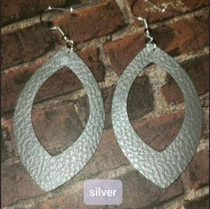 Handmade faux leather earrings SILVER COLOR